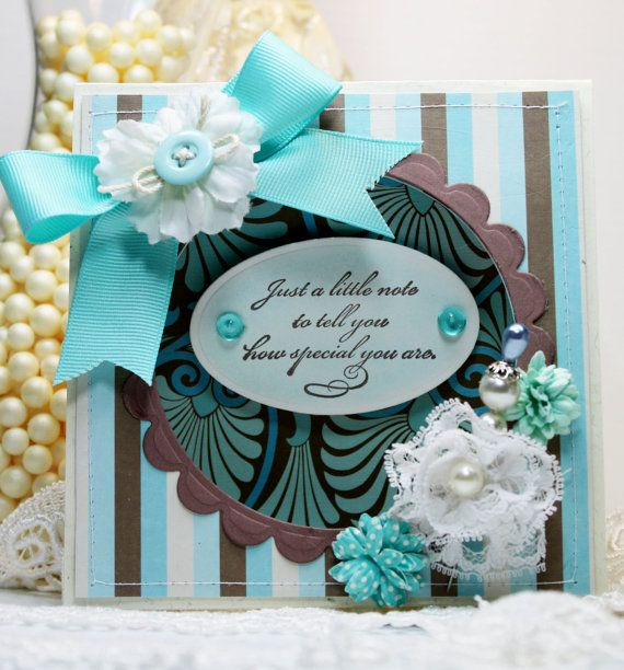 Love the classic, elegant blend of turquoise and chocolate brown.Scrapbook Cards, Cards Scrapbook, Handmade Cards, Chic Handmade, Beautiful Turquoise, Handmade Greeting, Greeting Cards, Chocolates Brown, Elegant Blends