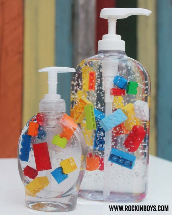 Kids are sure to love these Lego liquid soap that can make hand washing a bit more fun. You can also replace the Lego bricks with other toys.