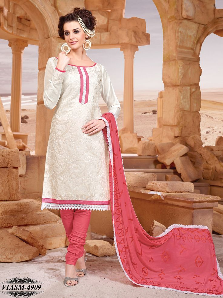 White Colour Chanderi Silk Embroidered Dress material