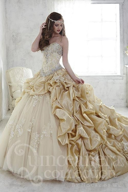 You will feel like a princess wearing this two-faced satin and lace ball gown with pickups and scattered appliqués. Lace-up back. Download the Quinceanera Collection by House of Wu sizing chart here.
