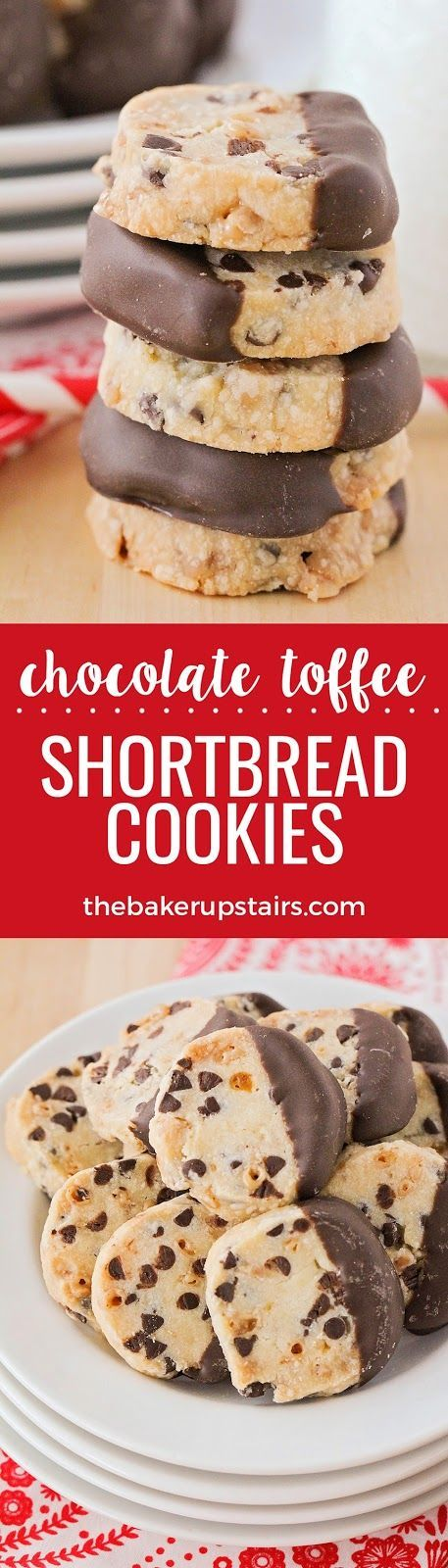 These crisp and buttery chocolate toffee shortbread cookies are so simple to make, and so delicious!