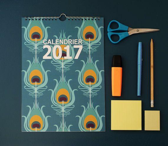 calendrier 2017 avec motif plume turquoise bleu par alexiableu