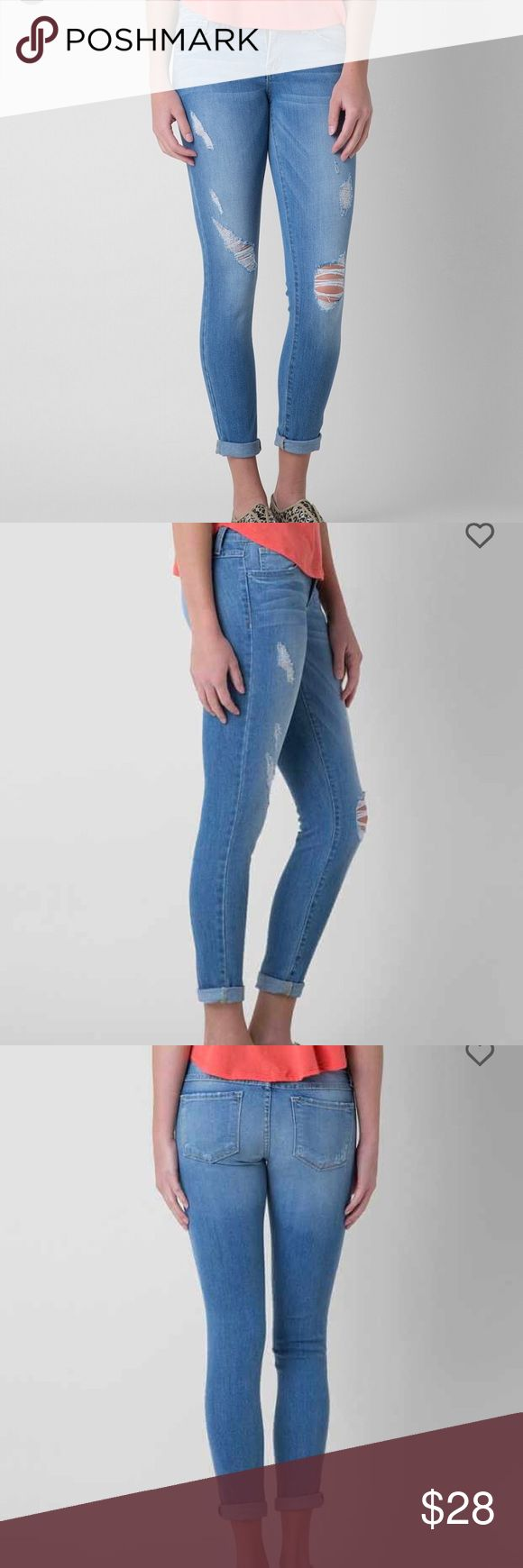 Flying Monkey low rise skinny stretch cropped jean Low rise skinny, light blue color.  Can be worn cuffed or uncuffed.  Size 28, fits true to size.  Pre-loved but good condition!  Tag: Buckle Flying Monkey Jeans Skinny