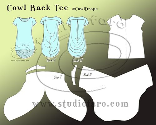 Cowl Back Tee - pattern making instructions. studiofaro wellsuitedblog