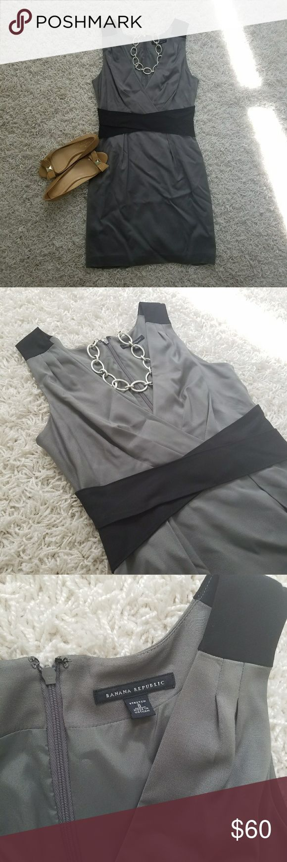 Banana Republic Dress Stunning sheath dress from Banana Republic 💗 gray with black accents is extrmemely slimming and gives the illusion of a narrower waist while the V neck elongates your neck 😍 perfect for the offoce with a blazer or for date night with stilletos 👠 Banana Republic Dresses