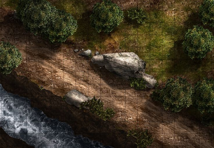 [FREE] Road Ambush, a printable battle map for Dungeons and Dragons / D&D, Pathfinder, and other tabletop RPGs. Tags: bandit, camp, encounter, road, wilderness, river, forest, tree, tile set, caravan, print