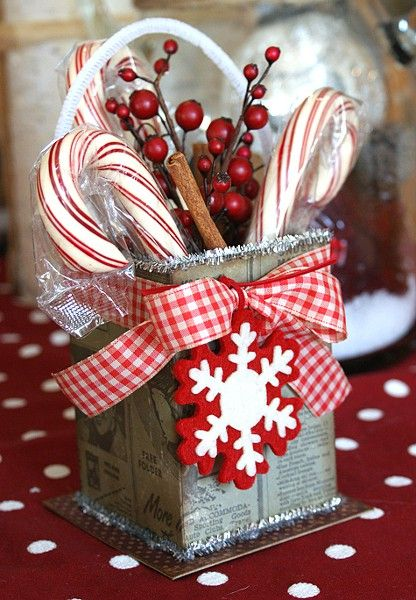 Candy cane gift box french country christmas pinterest Country christmas gifts to make