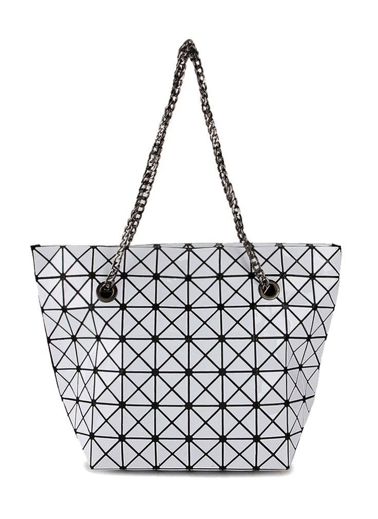 Looking for a new bag? Triangle Tiles Tote by TIVOLI is the answer. Triangle tiles Tote made from synthetic leather, white color triangle with black based made this bag look so eye catching. One main compartment with inner pocket, double handle.%0A%0A%0A http://www.zocko.com/z/JG0kG