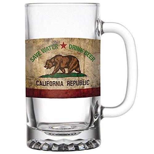 SB Design Studio Barstool Philosopher 16 oz California Republic Beer Mug Clear