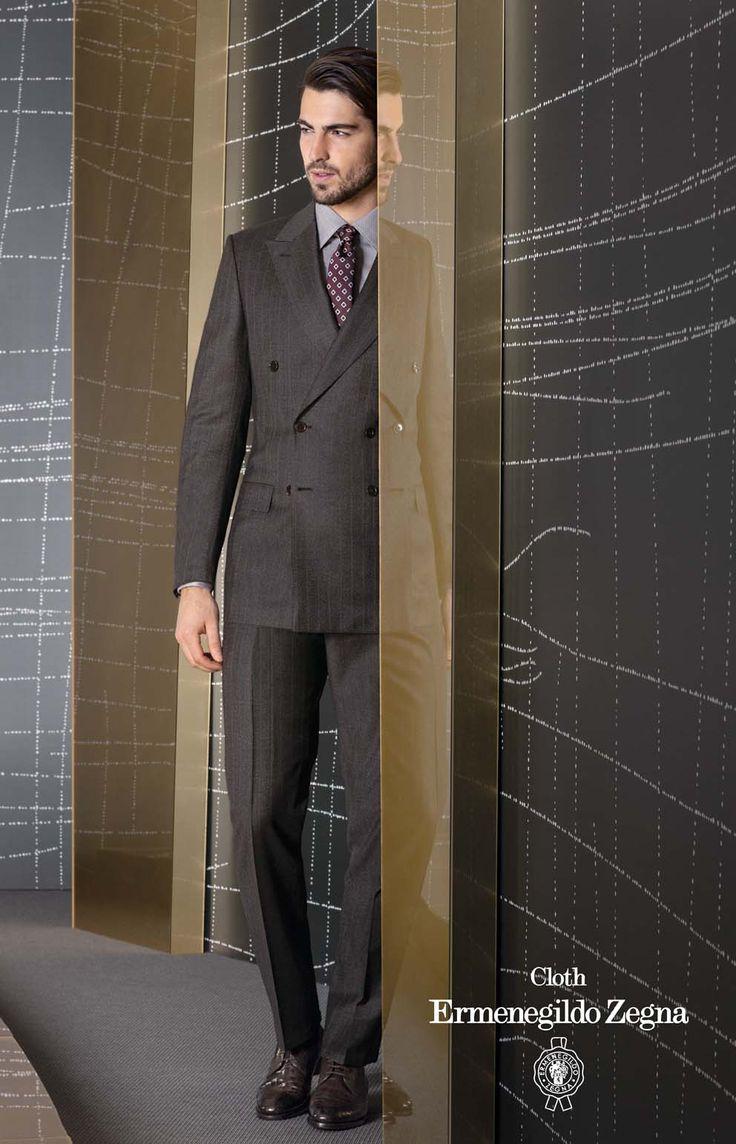Costum business double brested la comanda, colectia Zegna TI 2013-2014, Trofeo Cashmere, compozitie 95% Wool – 5% Cashmere, 300 Gr.