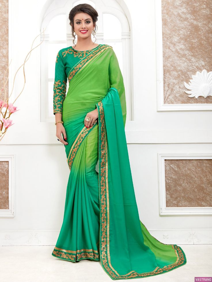 Solid Green Embroidery Lace Border Work Classic Saree