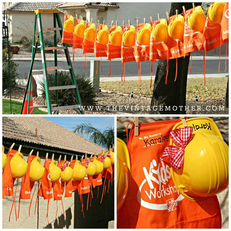 aprons hard hats and hard hats with bows for the girlsalso love the idea of hanging it all from a clothesline