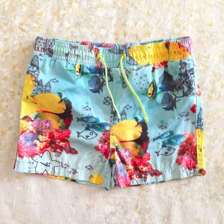 PLS READ Stella McCartney Kids Swim Trunks Size 3 Shorts Blue Yellow Fish Boys'  #StellaMcCartney #SwimBottoms