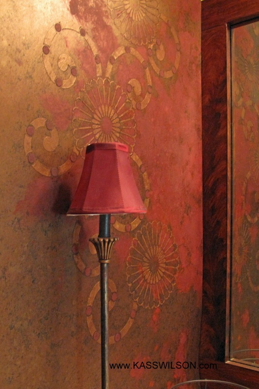 Modern Masters Metallic Paint finish on walls. Kyoto stencil by Royal Design Studio. Artistry by Kass Wilson.