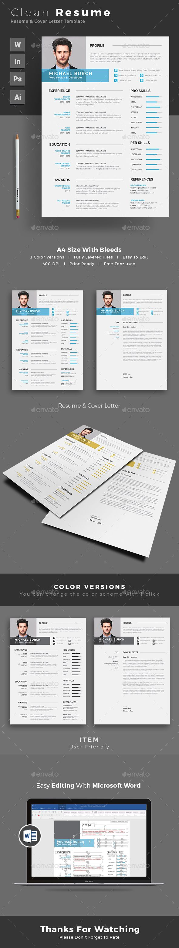buy resume by themedevisers on graphicriver resume word template cv template with super clean and modern look clean resume template page designs are