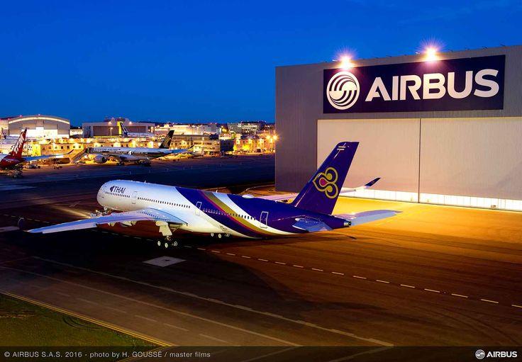 First Thai Airways A350 leaves the Airbus Paintshop #NotLongNow #Avgeek - http://www.planetalking.co.uk/2016/04/first-thai-airways-a350-leaves-airbus-paintshop-notlongnow-avgeek/