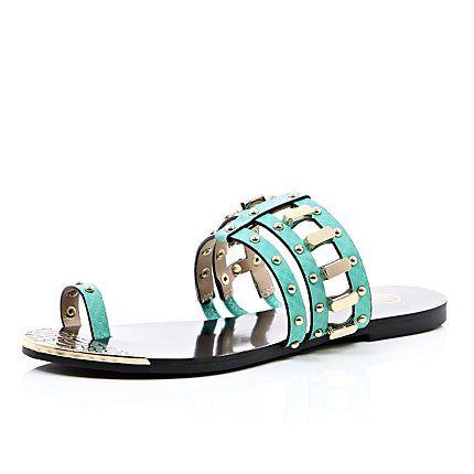 Turquoise loop toe studded sandals £25.00