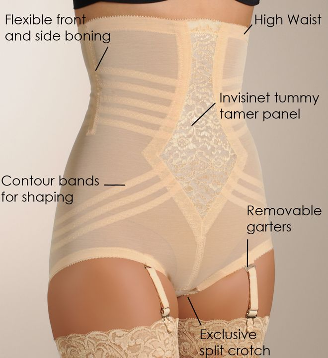 """Shapewear.  Rago High Waist Brief Girdle 6109. This extra-firm high-waisted brief girdle smooths away any midriff bulge for a slim silhouette. Perfect for everyday wear. Comes with 4 removable elastic garters. Exclusive contour bands for shaping waist, hips, back and derriere.For just """"firm"""" control shaping in a jacquard knit fabric, see the Rago Lace High Waist Brief Panty 6107.  Click the link below for more.  $35.10"""