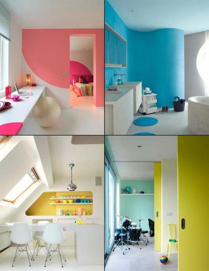 mur double couleurs jaune blanc salle de sejour idee en photos peinture glycéro