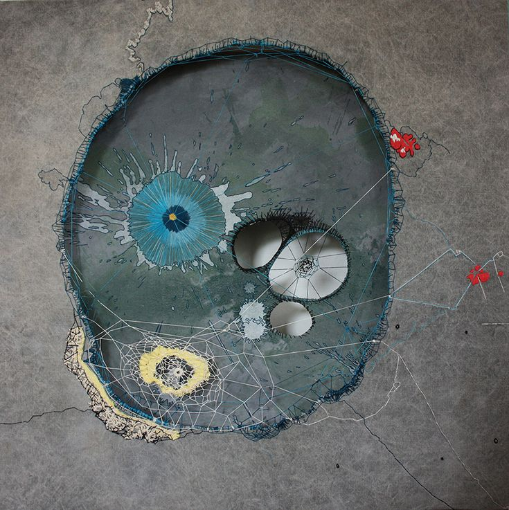 """""""003"""" by NAVA LUBELSKI :: Thread on stained canvas :: http://www.navalubelski.com/"""