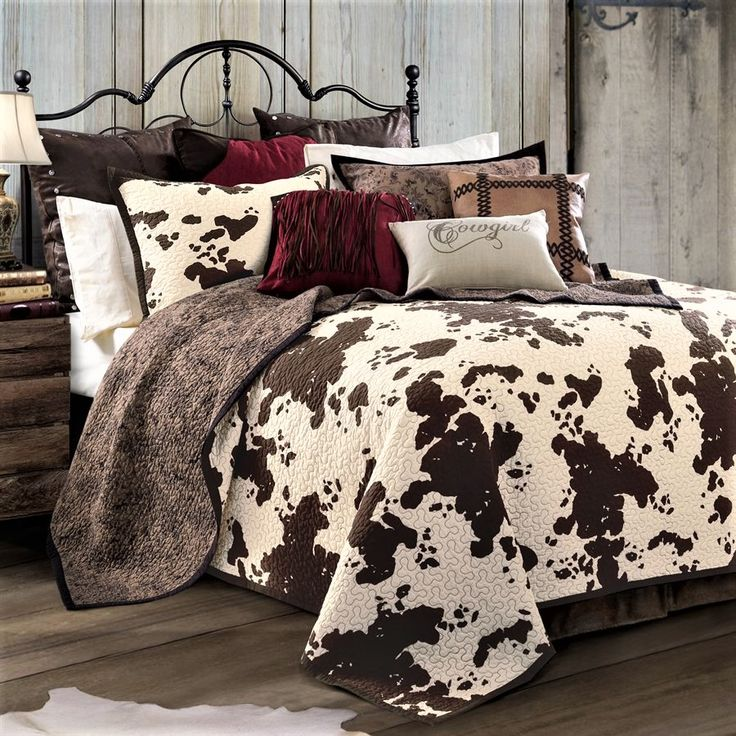 Cow Print Bedding includes a reversible quilt & pillow shams. Cow print on one side, brown floral reverse. Find your western bedding at Your Western Decor.