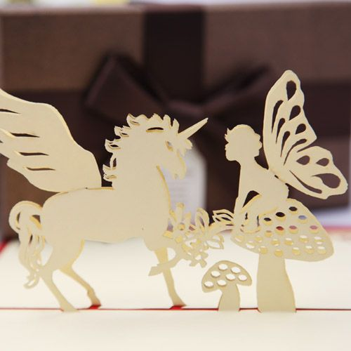 new year laser cut invitations 3d pop up cards paper art Chinese decoupage fairy tale angels cute gift cards with envelope