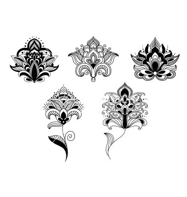 205 best body art images on pinterest tattoo ideas awesome black lace paisley flowers in persian style vector lotus henna tattoos by seamartini on vectorstock mightylinksfo