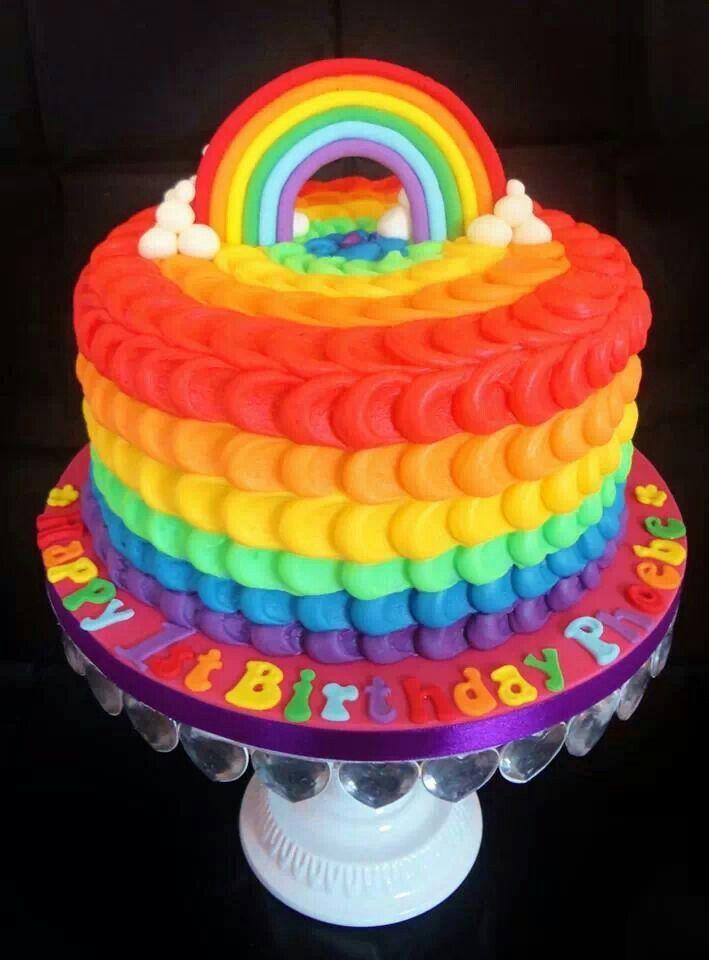 Rainbow decorated cake by Hayley's bespoke bakery
