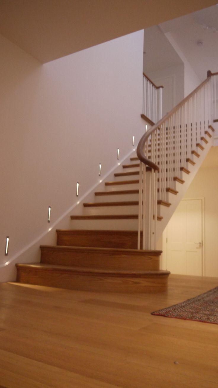 Cut string staircase, Oak bullnose steps & scroll