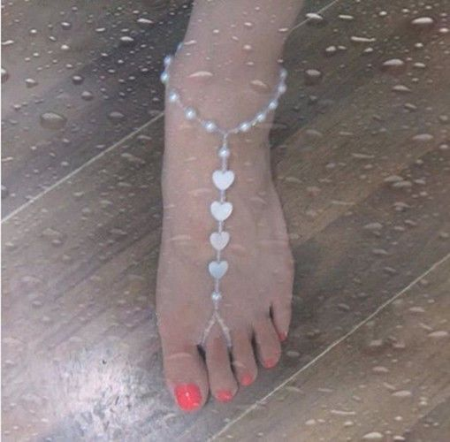 Handmade Pearl Heart Shell Bead Barefoot Beach Wedding Bridal Anklet Bracelet in Jewellery & Watches, Costume Jewellery, Anklets   eBay