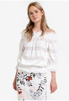Wanita > Pakaian > Atasan > Blouse > Cream Lace Shirred Bardot Top > River Island