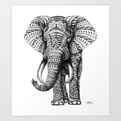 Ornate Elephant Art Print by BioWorkZ - $16.00  I adore the idea of this art print! there is soooo much detail when it comes to this elephant!