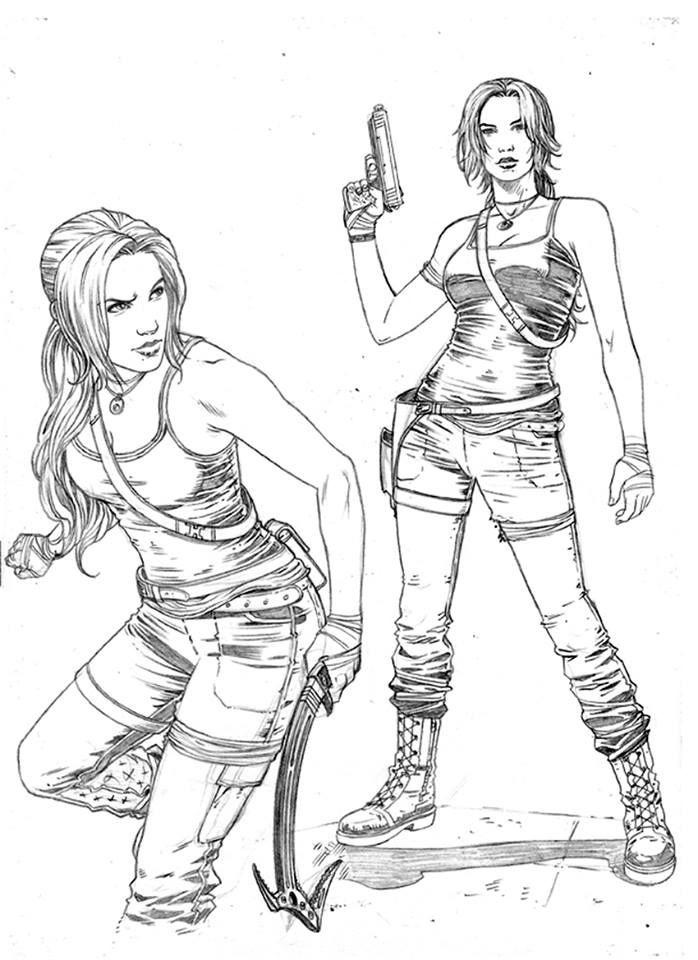 tomb raider sketch 3 derlis santacruz - Lara Croft Coloring Pages