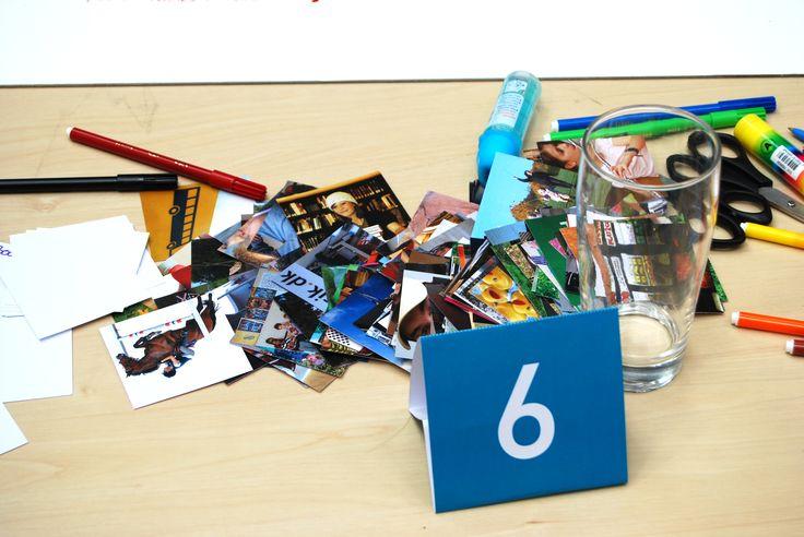Tisch 6 im Arbeitsprozess mit Materialien.
