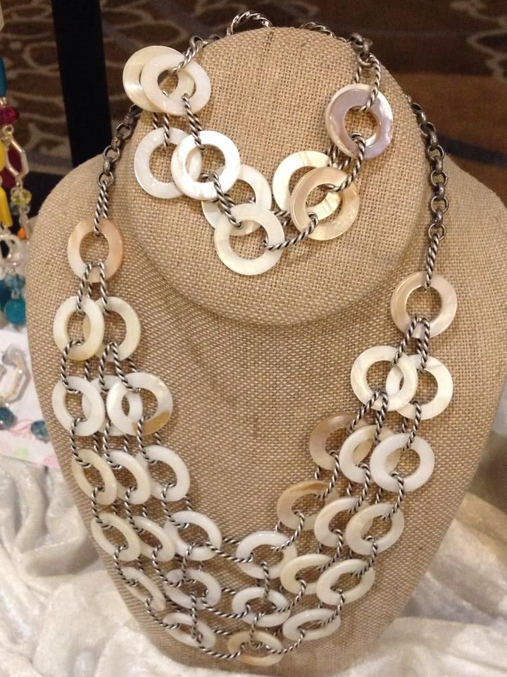 Sandy Set pairs antiqued matte silver with genuine mother-of-pearl shells and nautical wrapped chain.  Love the Look?  Contact Bedazzledbydeb@comcast.net!