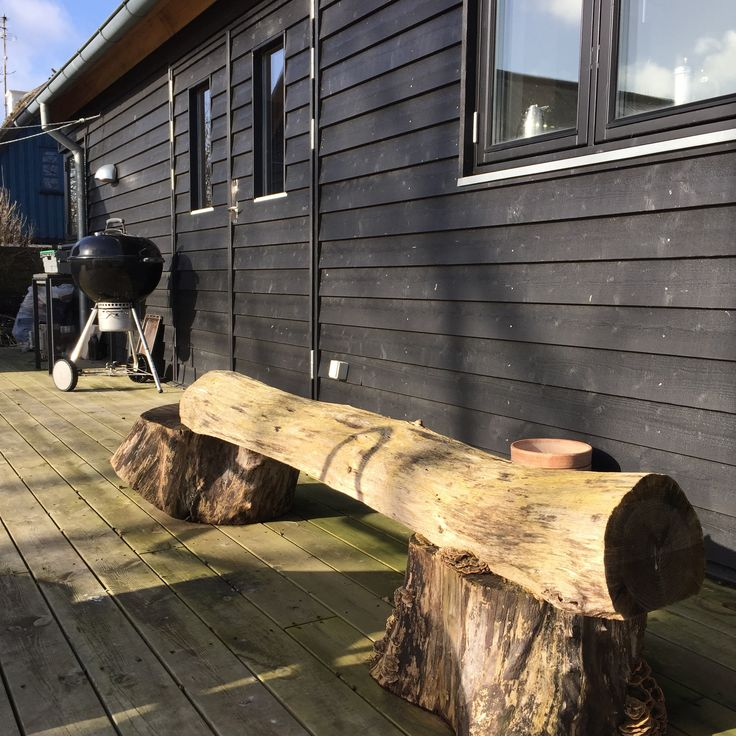 rustic bench on the deck