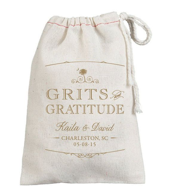 Classic unbleached muslin bags filled with Grits are the perfect sweet southern gift to send your guests off with!  Bags measure either 4x6 or 5x7
