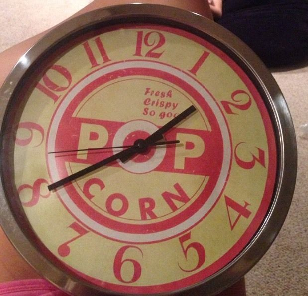 Popcorn Metal Clock Diner Movie Theatre Home 14 X 14 Tin And Glass $19.99