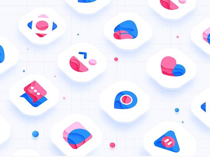 color icon design, lovely logo, Monogram, mark, brand, app gif