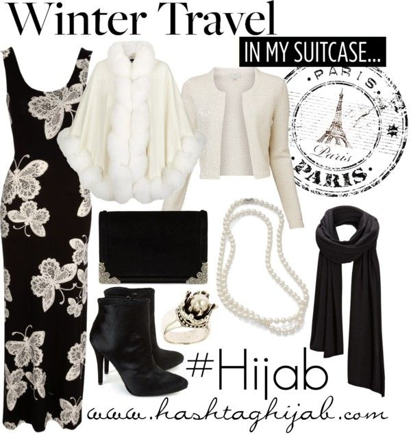 ok, to create a black and white basic capsule, this would be a great start: one dress, one blouse, one jacket/cardigan a scarf, and accessories... ADD: skirt, different shirt that can also be worn open as a cardigan /jacket, t shirt or blouse, white shoes or lower heeled pumps and a less dressy purse. boom, complete capsule wardrobe in black and white! Hashtag Hijab Outfit #38