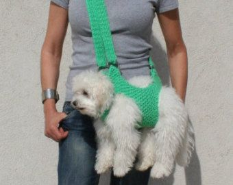This carrier is very comfortable for your pet. Its hand crocheted, has 4 holes at the base for the pets limbs.  Care instruction: Machine wash gentle cycle or hand wash in cold water, Reshape and Air dry  I dont recommend this sling if your dog is too perky. • If you see any loose end , simply cut the yarn to hide them in stitches again. I guarantee all ends are weaved in properly.   ********Please be aware that this is completely handwork so the items can not be identical. The size and…