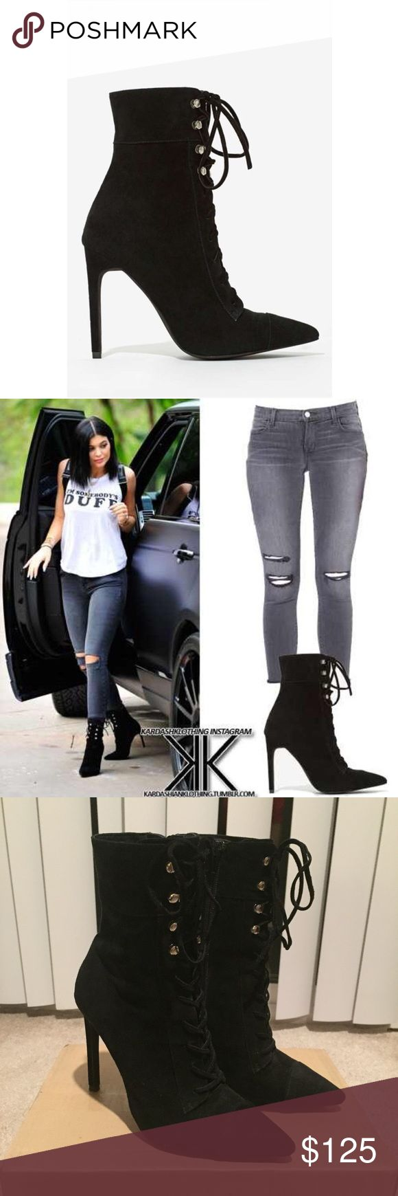 Jeffrey Campbell Elphaba Corset Lace Up Boots Jeffrey Campbell Elphaba Corset Lace Up boots in black suede. Silver tone hooks. Inside zip closure. US women's size 7. Worn a handful of times, still in very good condition! As seen on Kylie Jenner. Jeffrey Campbell Shoes Lace Up Boots