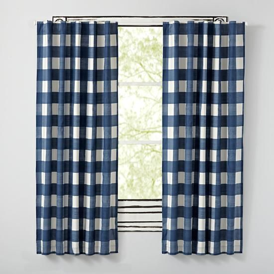 Buffalo Check Blue Blackout Curtains  | The Land of Nod                                                                                                                                                      More