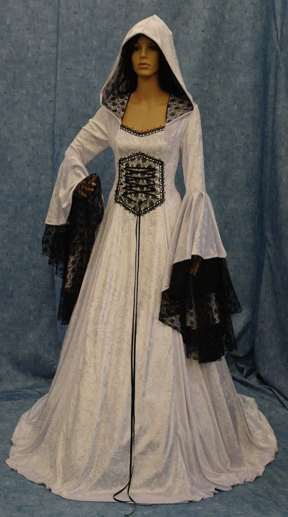 Renaissance wedding dress, medieval dress, elven dress, fantasy wedding dress, black and white dress