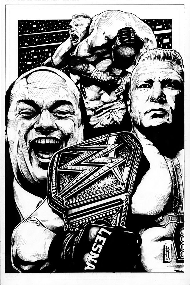 WWE Brock Lesnar and Paul Heyman drawn in pen and ink