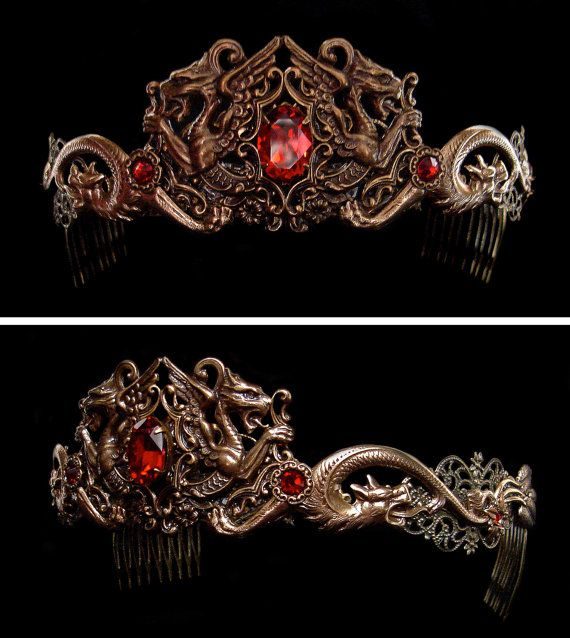 Dragon Queen Crown Medieval Renaissance Circlet by AMonSeulDesir