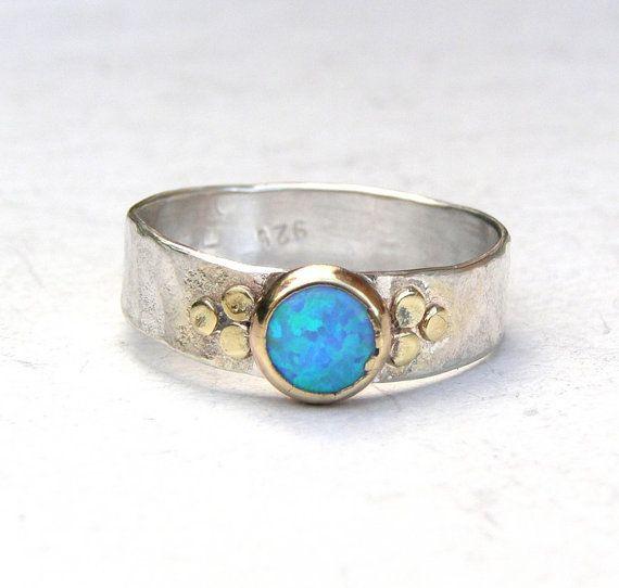 Blue opal Gemestone Engagement Ring  14k gold ring by OritNaar, $99.00