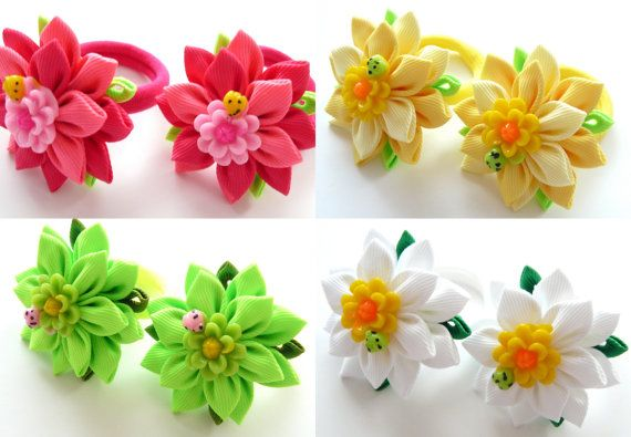 Flores de tela Kanzashi. Juego de 2 soportes de cola de por JuLVa
