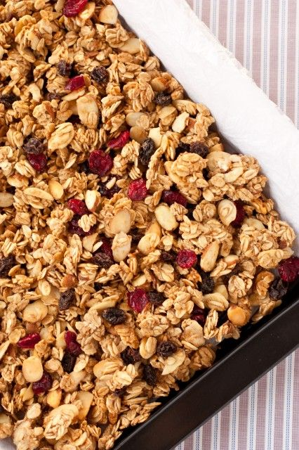 Granola - This recipe has no added oil, nuts and raisins, dried cherries (my favorite!) and/or blueberries.  It's delish!