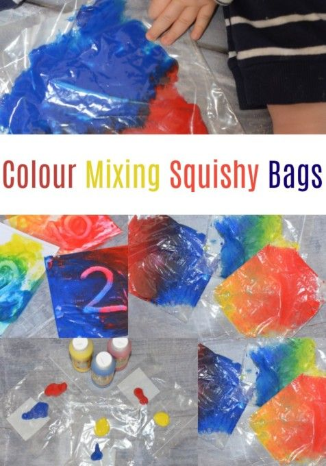 Mixing colours with squishy bags #colourmixing #primarycolours #scienceandart